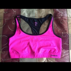 Reebok pink and black Sports Bra in Large